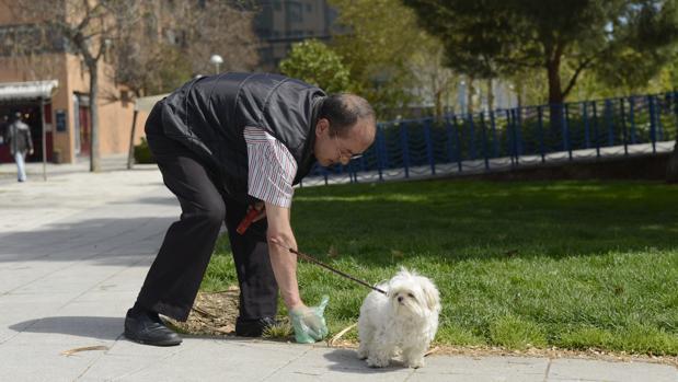 Un hombre recoge los excrementos de su perro en una imagen de archivo