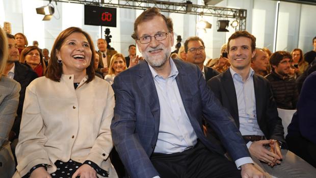 Isabel Bonig, Mariano Rajoy y Pablo Casado, en una imagen de archivo en Alicante