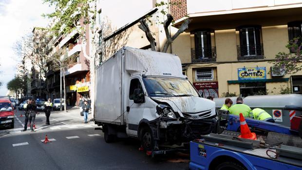 Imagen del camión siniestrado