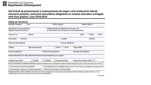 Imagen del folleto de preinscripción publicado hoy por la Generalitat