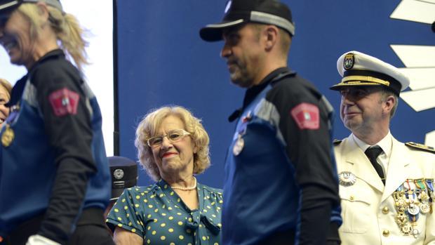 Manuela Carmena, en un acto de la Policía Municipal