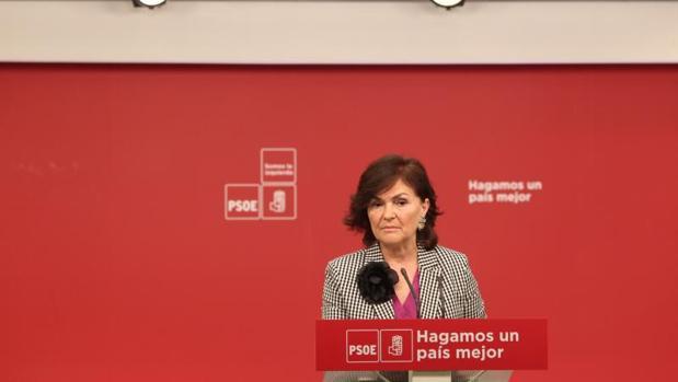 Carmen Calvo, esta mañana en rueda de prensa
