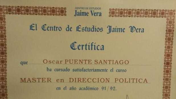 Imagen del título obtenido por Óscar Puente en 1992