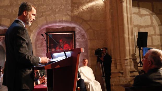 Don Felipe, en el Monasterio de Yuste, durante la entrega del premio Carlos V a Marcelino Oreja el año pasado