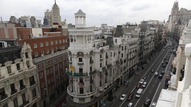 Vistas del inicio de la Gran Vía desde la calle Alcalá