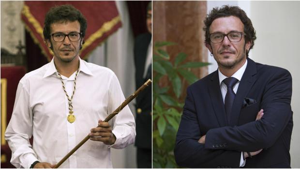 A la izquierda, «Kichi» durante su investidura como alcalde de Cádiz; a la derecha, él mismo con traje de etiqueta