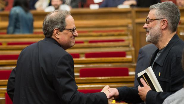 El jefe de filas de la CUP, Carles Riera, en el Parlament