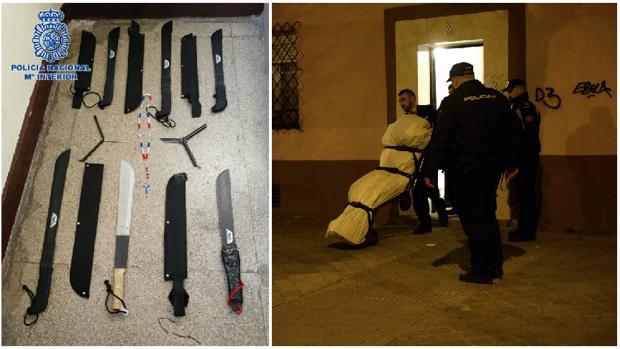 El arsenal incautado; a la derecha, el cuerpo del joven muerto, en marzo