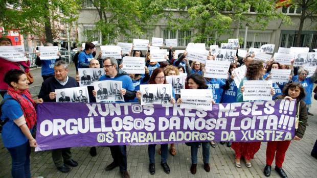 Protesta de los funcionarios de Justicia en La Coruña