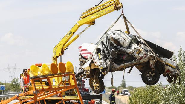 Estado en el que ha quedado la furgoneta tras el accidente