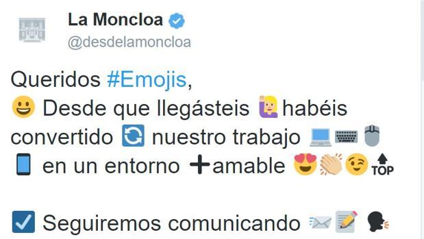 Tuit criticado borrado por la cuenta de La Moncloa