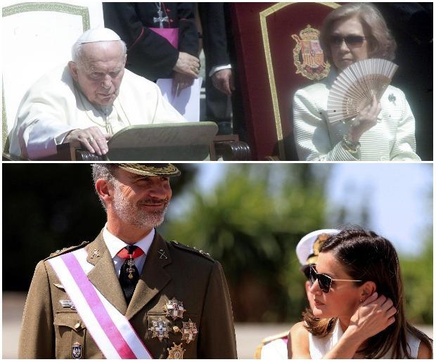 Arriba: Doña Sofía, durante la ceremonia de bienvenida al Papa Juan Pablo II en 2003. Abajo, la Reina junto al Rey durante la entrega de reales despachos en la Academia Central de la Defensa