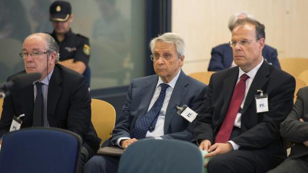 Gorriarán, Gayoso y Pego, durante el juicio de las prejubilaciones millonarias en la Audiencia Nacional