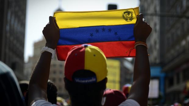 Venezolanos durante una manifestación en Madrid en contra del régimen de Nicolás Maduro