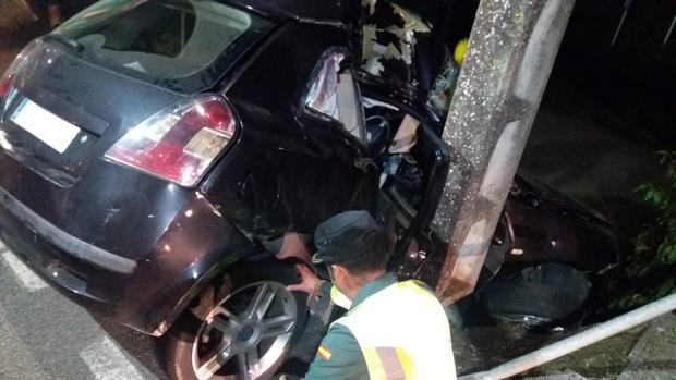 Imagen del brutal accidente en Sada, en la medianoche de este viernes