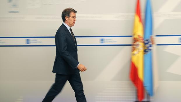 El presidente de la Xunta, Alberto Núñez Feijóo, este jueves tras el Consello