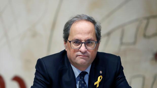El presidente de la Generalitat, Quim Torra, ayer durante la reunión semanal del gobierno catalán