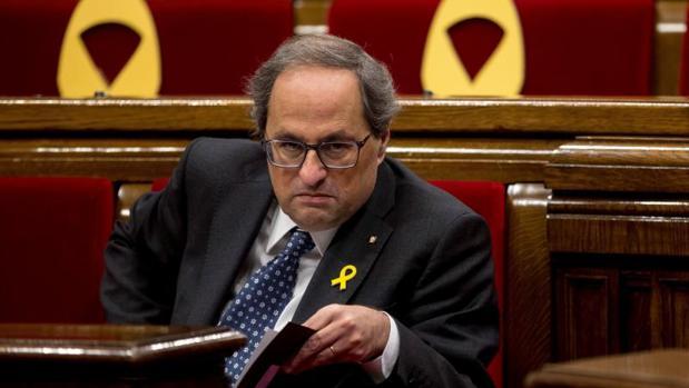 Quim Torra, presidente de la Generalitat, ayer, en el Parlamento catalán