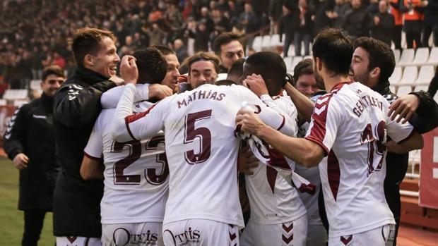 Celebración del gol del Albacete Balompié contra el Rayo Majadahonda