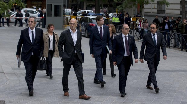 Algunos de los exconsejeros catalanes presos por el «procés», antes de declarar en la Audiencia Nacional
