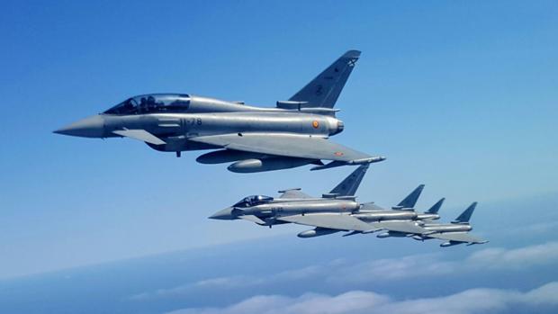 Una agrupación de cazas Eurofighter