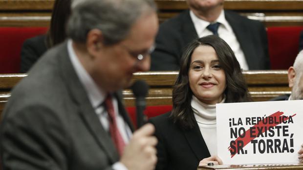 Quim Torra e Inés Arrimadas en el Parlament