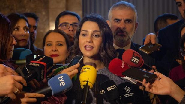 Inés Arrimadas, hoy, anunciando la petición de comparecencia de Torra