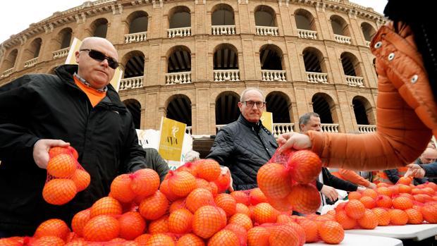 Imagen del reparto de naranjas este jueves en el centro de Valencia como protesta por la gestión de la crisis agrícola