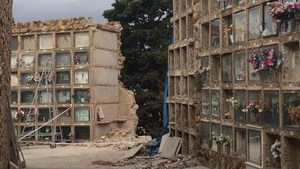 Imagen del cementerio tras el derrumbe