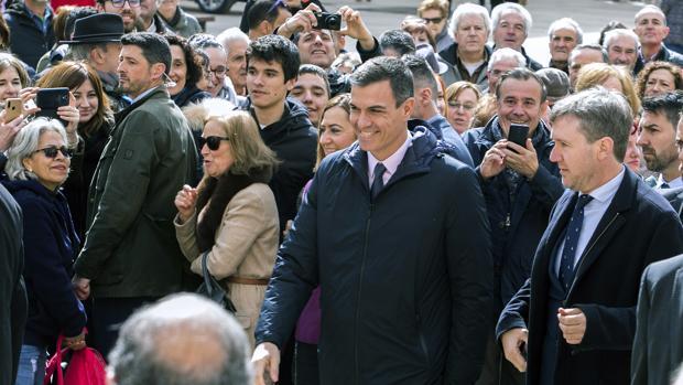 El presidente del Gobierno, Pedro Sánchez, ayer en Burgos