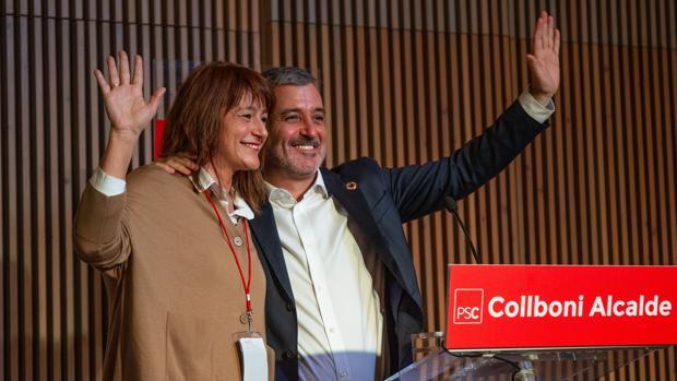 Jaume Collboni y Laia Bonet, ayer en Barcelona