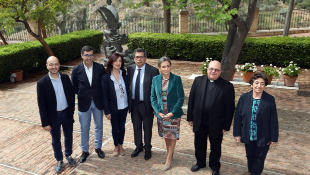 Montero, Sánchez, Gómez, Nicolás, Tolón, Ferrer y Acuña, ayer durante la presentación del festival