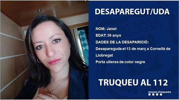 Cartel difundido por los Mossos con la alerta sobre la desaparición