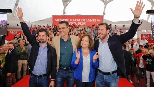 Tudanca, Sánchez, García y Puente, este viernes en el acto de Valladolid