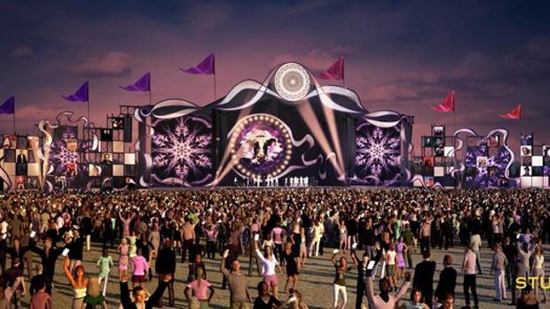 Recreación digital del escenario central que se había diseñano para el Doctor Music Festival