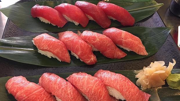 Nigiri de lomo, tarantelo y ventresca de atún rojo.