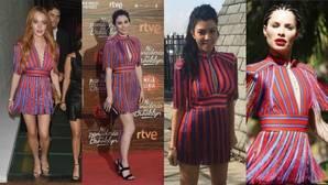 Blanca Suárez, Lindsay Lohan y Kourtney Kardashian «copian» el vestido de Soraya