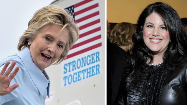 Hillary Clinton en una imagen de campaña y Monica Lewisnky