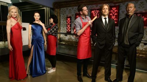 Las figuras de cera de Nicole Kidman, Angelina Jolie, Brad Pitt y Morgan Freeman