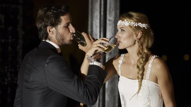 El tenista y la modelo tras contraer matrimonio