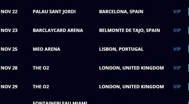 Captura de la web de Justin Bieber en la que se muestra el error