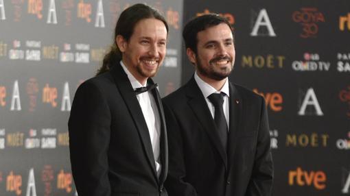 Pablo Iglesias junto a Alberto Garzón en la gala de los Goya