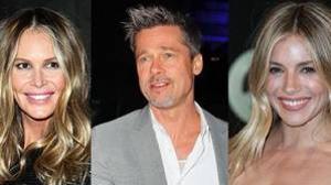 Brad Pitt entre dos rubias, ¿Elle Macpherson o Sienna Miller?