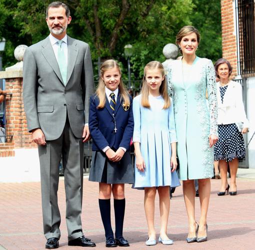 Los Reyes con sus hijas en la Primera Comunicón de la Infanta Sofía