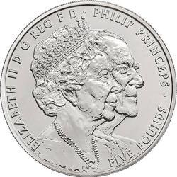 Una de las monedas que conmemoran los 70 años de matrimonio de los reyes