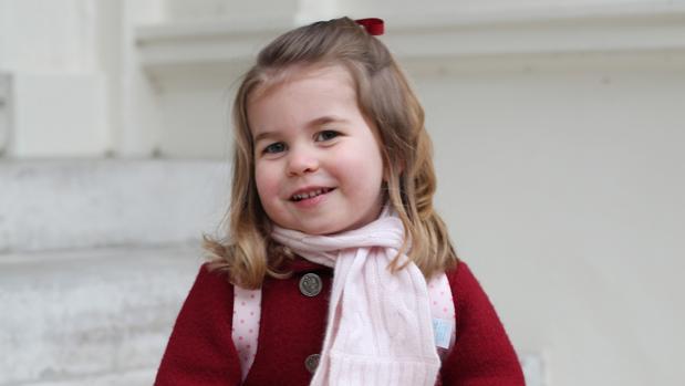 Carlota de Cambridge el pasado lunes en su primer día de guardería