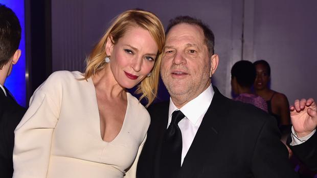 Uma Thurman y Harvey Weinstein en la gala benéfica amfAR, celebrada en Nueva York en 2016