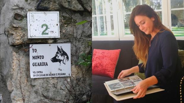 A la izquierda, la placa donde advierte de la presencia de perros. A la derecha, Sandra en el salón de su casa repasando un álbum de fotos familiar