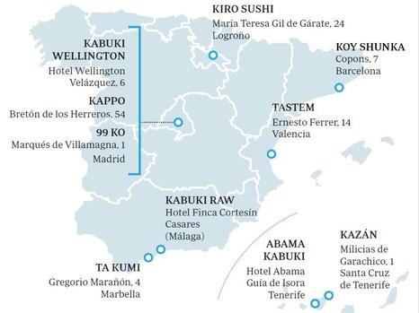 Mapra que representa los puntos donde se encuentran los diversos restaurantes