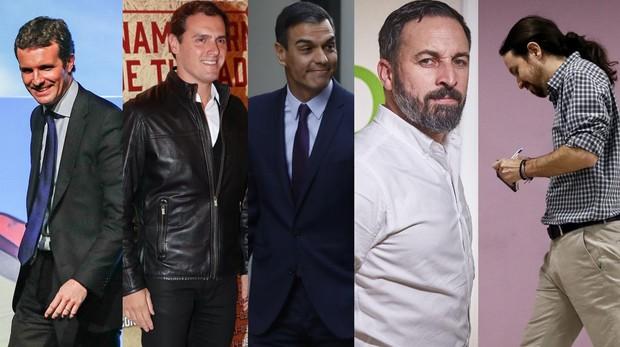 Pablo Casado, Albert Rivera, Pedro Sánchez, Santiago Abascal y Pablo Iglesias